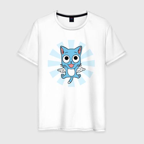 Мужская футболка хлопок Хэппи кэт