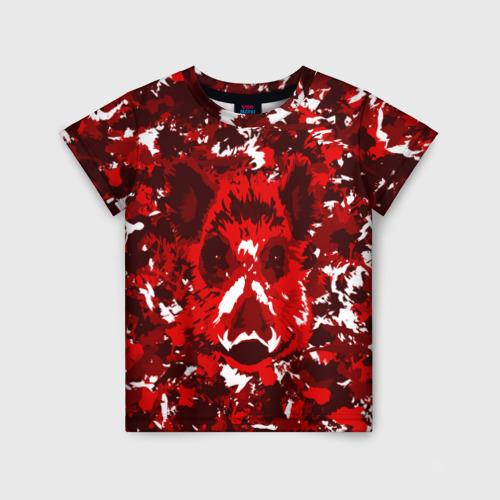 Детская футболка 3D Краснобелый камуфляж с кабаном