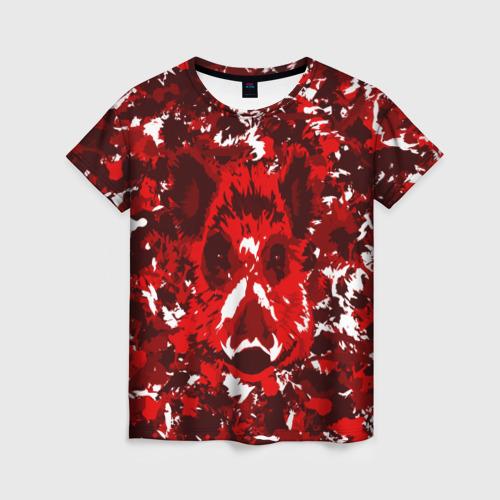 Женская футболка 3D Краснобелый камуфляж с кабаном
