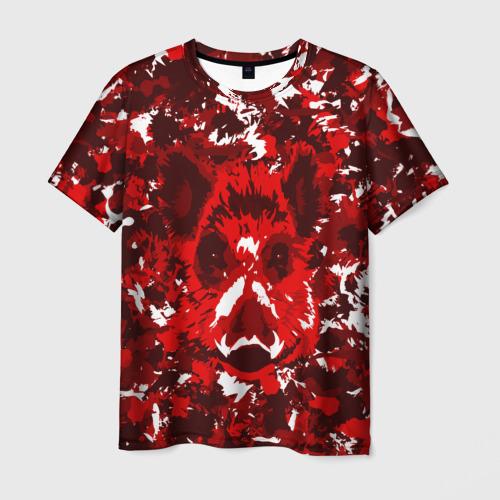 Мужская футболка 3D Краснобелый камуфляж с кабаном