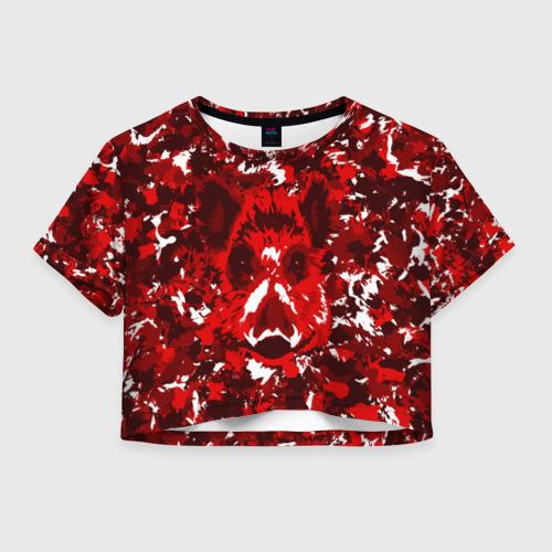 Женская футболка Crop-top 3D Краснобелый камуфляж с кабаном