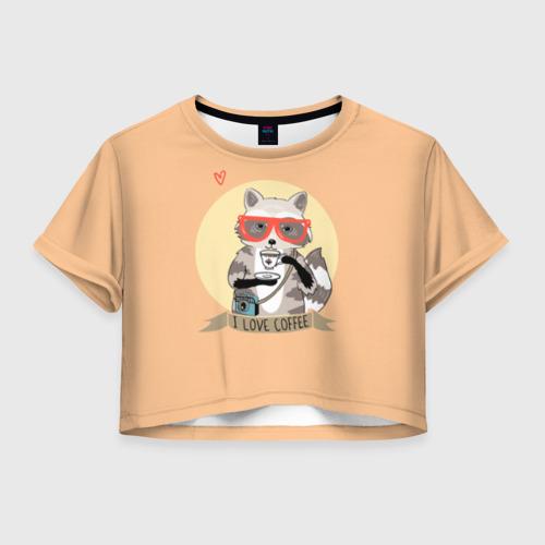 Женская футболка Crop-top 3D Енот и кофе