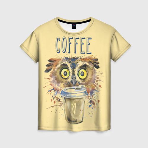 Женская футболка 3D Сова и кофе