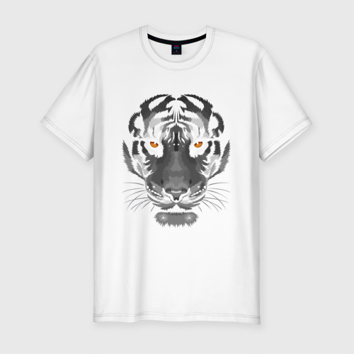 Мужская футболка хлопок Slim Белый тигр