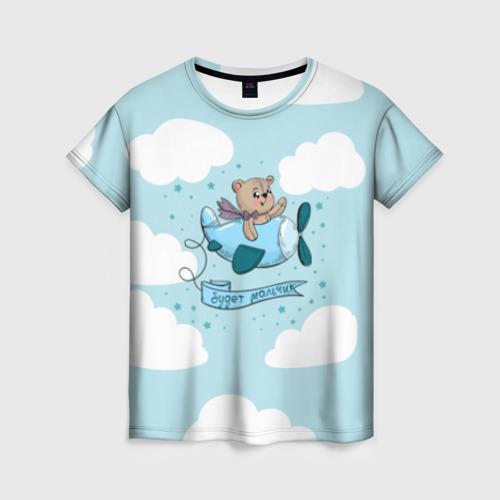 Женская футболка 3D Будет мальчик