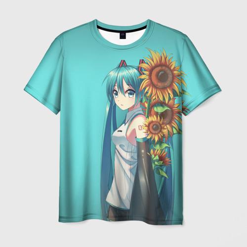Мужская футболка 3D Хацуне Мику и подсолнухи
