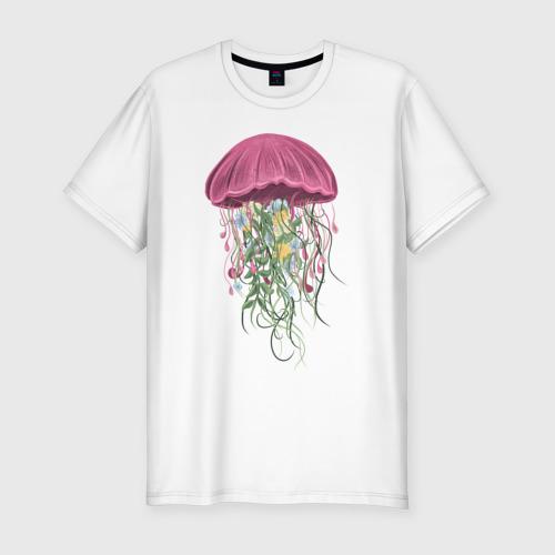 Мужская футболка хлопок Slim Медуза и цветы