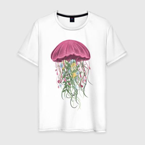 Мужская футболка хлопок Медуза и цветы