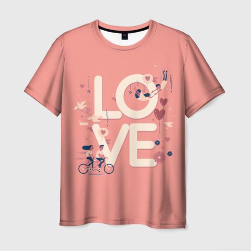 Мужская футболка 3D Любящая пара