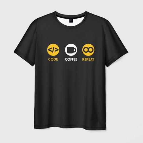Мужская футболка 3D Code Coffee Repeat