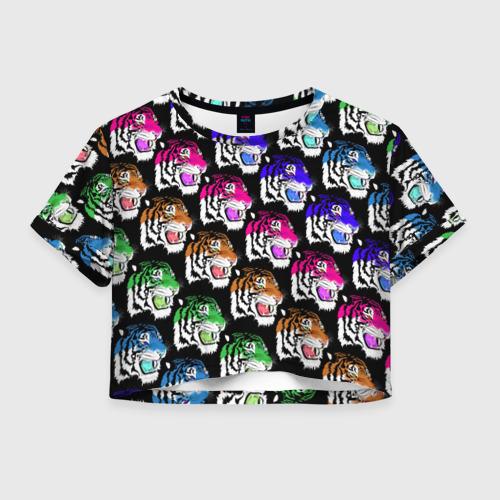 Женская футболка Crop-top 3D Gucci тигр
