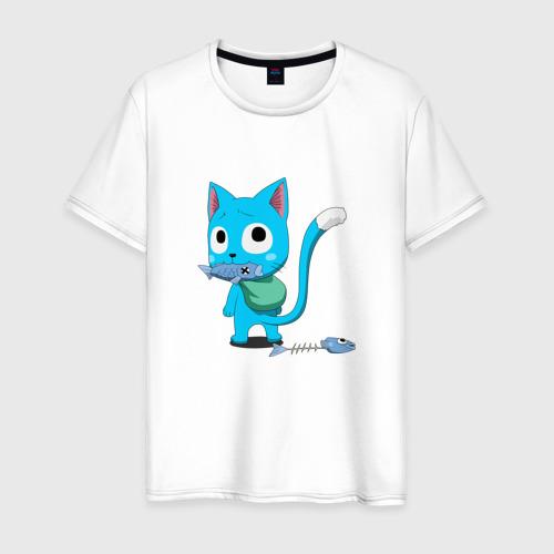 Мужская футболка хлопок котик Хэппи