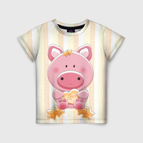 Детская футболка 3D Поросенок love