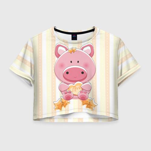 Женская футболка Crop-top 3D Поросенок love