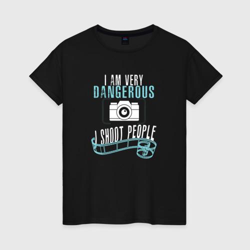 Женская футболка хлопок Опасный фотограф