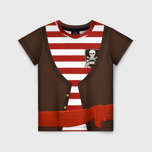 Детская футболка 3D Костюм пирата в красную полоску