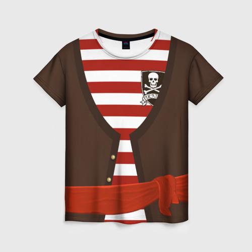 Женская футболка 3D Костюм пирата в красную полоску