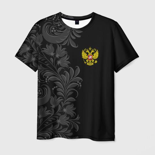 Мужская футболка 3D Герб России и Орнамент