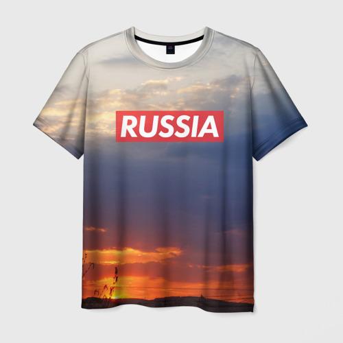 Мужская футболка 3D Флаг России на Закате