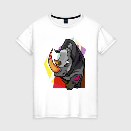 Женская футболка хлопок Носорог