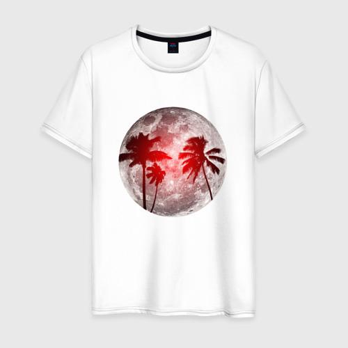 Мужская футболка хлопок Красный закат в тропиках