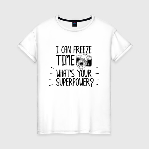 Женская футболка хлопок i can freeze time