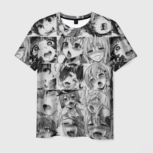 Мужская футболка 3D такое разное АХЕГАО. монохром