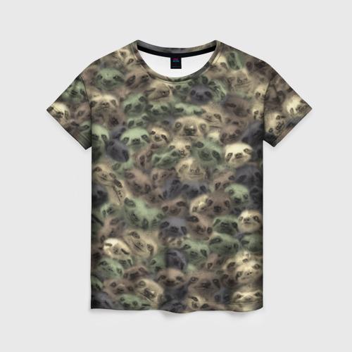 Женская футболка 3D Камуфляж с ленивцами