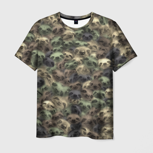 Мужская футболка 3D Камуфляж с ленивцами
