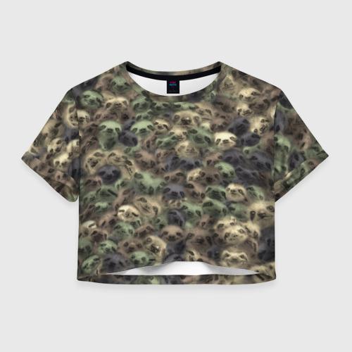 Женская футболка Crop-top 3D Камуфляж с ленивцами
