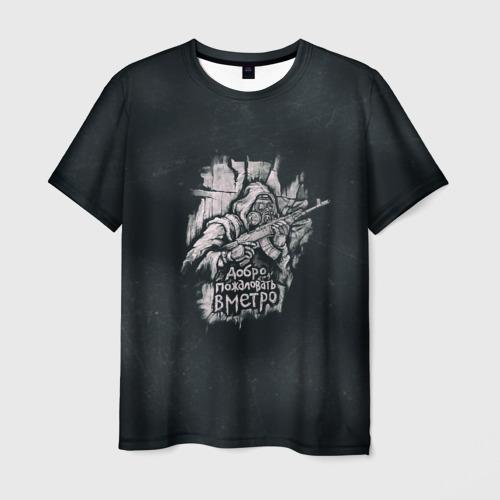 Мужская футболка 3D Добро пожаловать в метро