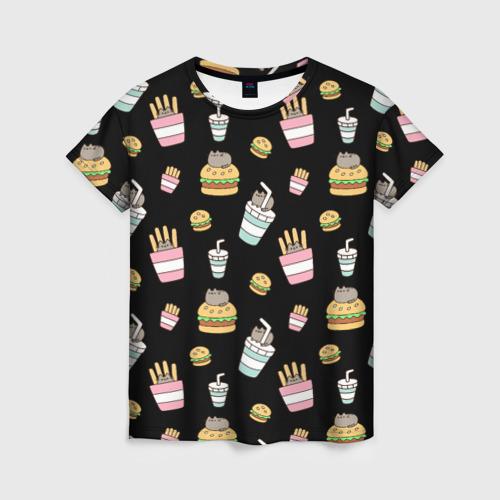 Женская футболка 3D Pusheen Фастфуд
