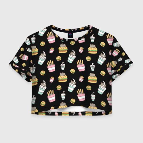 Женская футболка Crop-top 3D Pusheen Фастфуд