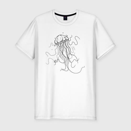 Мужская футболка хлопок Slim Черная медуза векторный рисуно