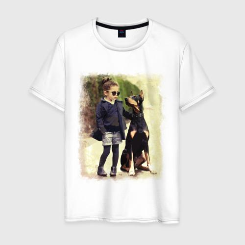 Мужская футболка хлопок Девочка и доберман