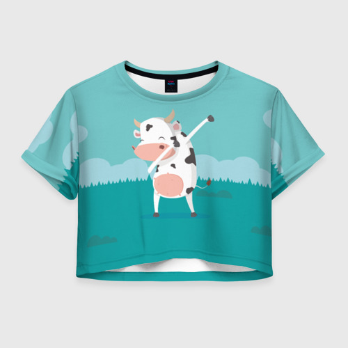 Женская футболка Crop-top 3D DAB Корова