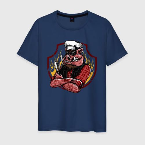 Мужская футболка хлопок Свинья Повар