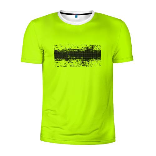 Мужская футболка 3D спортивная Гранж салатовый