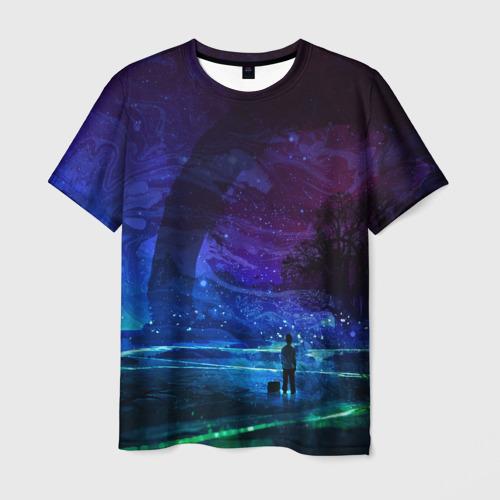 Мужская футболка 3D Парень и космос