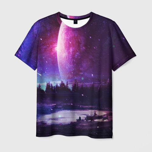 Мужская футболка 3D Северный закат