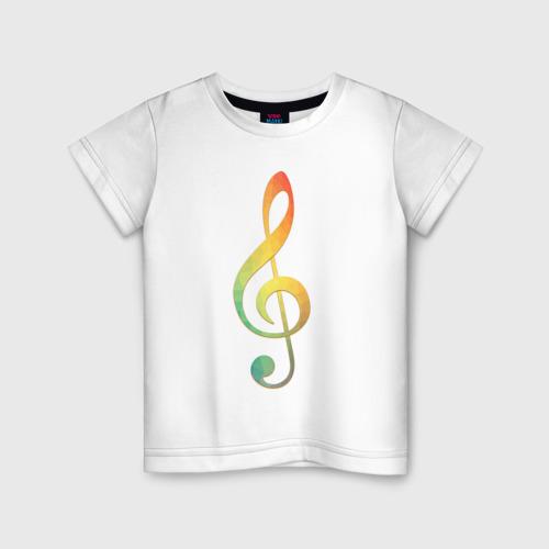 Детская футболка хлопок Скрипичный ключ, цветной.