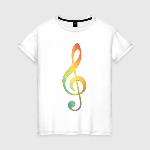 Женская футболка хлопок Скрипичный ключ, цветной.