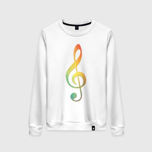 Женский свитшот хлопок Скрипичный ключ, цветной.
