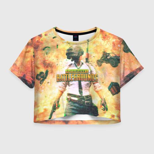 Женская футболка Crop-top 3D Playerunknown`s battlegrounds
