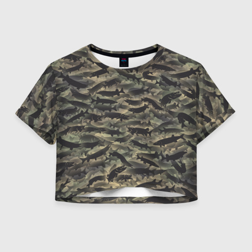 Женская футболка Crop-top 3D Камуфляж с щуками