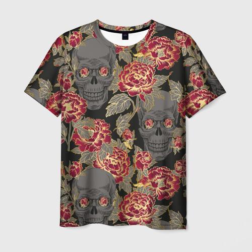 Мужская футболка 3D Черепа и розы
