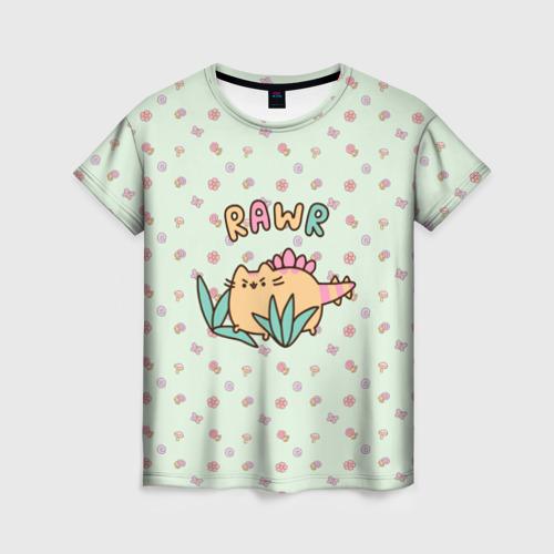 Женская футболка 3D Pusheen динозаврик
