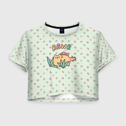 Женская футболка Crop-top 3D Pusheen динозаврик