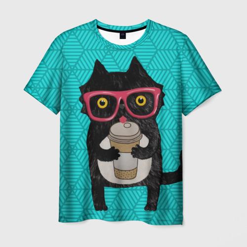 Мужская футболка 3D Котик с кофе