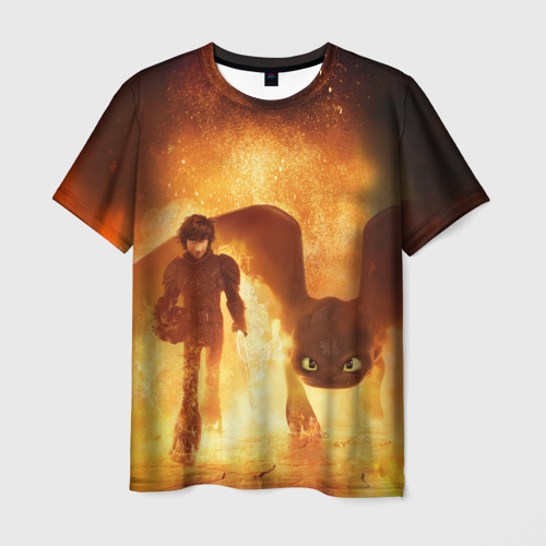 Мужская футболка 3D Как приручить дракона